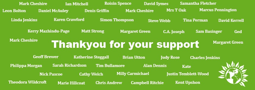 Banner thanking people for making a donation to our Crowdfunder